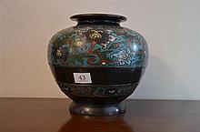 Antique circular cloisonne vase
