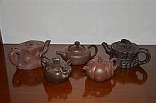 Five Chinese Ceramic Teapots -