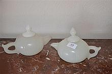 Pair of White Jade Teapots -