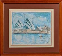 Lloyd Rees (1895 - 1988) - Utzon's Vision - Sydney Opera House' , 1966 50 x 63cm