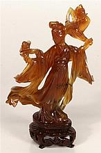 Chinese Agate Figure of a Maiden