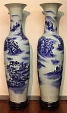 Chinese Blue & White Pair of Vases