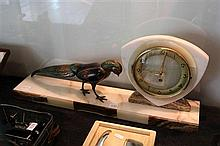 French Marble Clock with Applied Figural Pheasant