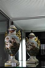 Capodimonte Pair of Lidded Urns