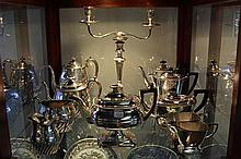 Silver Plated Candelabrum with Silver Plated Tea Sets