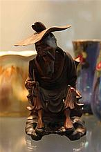 Chinese Carving with Old Man with Hat