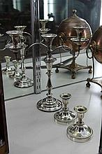 Silver Plated Candelabra with 2 Other Plated Candlesticks