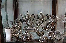 Silver Plated Tea & Coffee Set with Other Plated Wares incl Jug