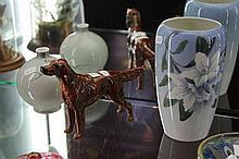Beswick Dog Figure with Royal Copenhagen & Bing & Grøndahl Vases