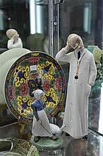 Royal Copenhagen Figure of a Girl, an Italian Pottery Figure of a Doctor & a Royal Doulton Cabinet Plate