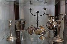Silver Plated Ice Bucket with Other Silver Plated Wares incl Candelabrum