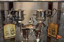 Silver Plated Pair of Champagne Buckets with Other Plated Wares & Bookends
