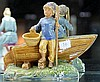 Majolica Figure of Boy with Boat, chip