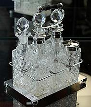 EP and Pressed Glass Cruet Set