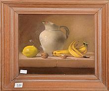 Artist Unknown,  Still Life with Bananas, Pastel.