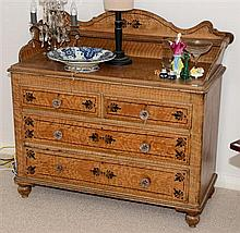 An English painted chest of four drawers with glass handles. Height 101cm x width 110cm x depth 47cm