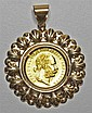 AN AUSTRIAN 1 DUCAT GOLD COIN PENDANT; 1915 restrike fine gold coin set a 14ct gold frame. Weight 5.1g.