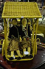 Javanese Dolls of a Wedding Couple riding in a Becak