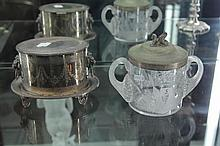 2 Victorian Biscuit Containers incl EP with Lion Mask Handles and Etched Glass and EP a.f