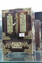 Chinese Rosewood & Stone Inlay Jewellery Box