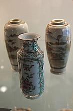 Satsuma Pair of Vases & a Chinese Polychrome Vase