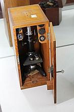 Vintage Watsons & Sons 'Kima' Microscope in Timber Case