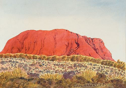 ENOS NAMATJIRA (1920 - 1966) - Uluru, 1964 25 x 36 cm