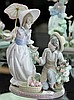 Lladro Figural Group of Gardening Boy & Girl with Umbrella