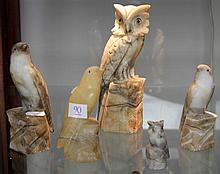 4 Carved Alabaster Bird Figures