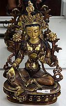 Brass Seated Figure of Goddess Tara on Lotus