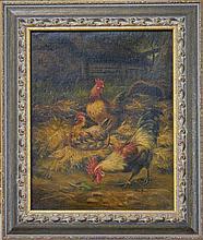 Edgar Hunt (1879 - 1953) Manner of. - Rooster & Hens 25.5 x 20.5cm
