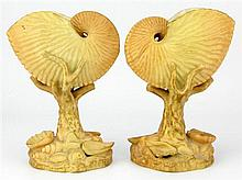 Royal Worcester Pair of Nautilus Shell Vases