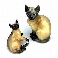 Royal Copenhagen Siamese Cat & Kitten Figures
