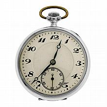 A VINTAGE OPEN FACE POCKET WATCH; white dial with black Arabic numerals, blued hands, subsidiary seconds dial on a stem wind movemen...