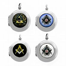 FOUR SILVER LOCKETS; each with enamel masonic symbols.