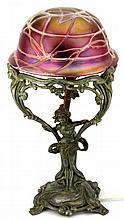 Art Nouveau Pewter Leadlight Figural Lamp