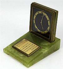 E Gübelin Eight Days Onyx Swiss Desk Clock