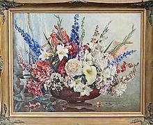 Allan Thomas Bernaldo (1900 - 1988) - Still Life - Late Summer Flowers 65.5 x 82cm