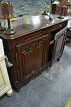 19th Century French Oak Sideboard, with two carved shaped panel doors (Key In Office)