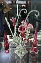 EP Epergne Base & Some Cranberry Glass Trumpet, etc