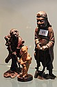 3 Chinese Carved Figures, Boxwood Girl with Watering Can and 2 Figures Spearing Fish