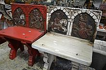 Pair of Folding Stools w Medieval Designs