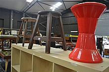 Two Timber Stools And A Plastic Drum Form Stool