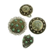 TWO VINTAGE SILVER CANNETILLE RING AND BROOCH SETS; 1930's Chinese silver expandable ring set with cabochon turquoise, with matched...