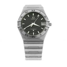 OMEGA SEAMASTER GENT'S QUARTZ WRISTWATCH; in stainless steel with guilloche charcoal dial, applied baton markers, centre seconds, da...