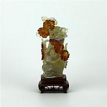 Agate Carved Floral Lidded Vase
