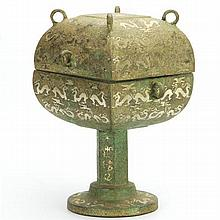 Archaic Dou with Silver Inlay