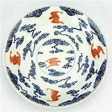 Blue & White Iron Red Bats Plate with Kuang Hsu Mark