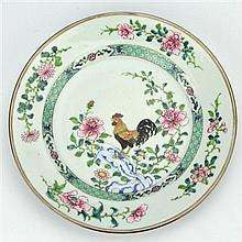 Ch'ing Dynasty Yong Cheng Famille Rose Export Ware Chicken Plate