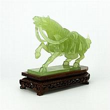 Jade Carved Tang Style Horse Figure